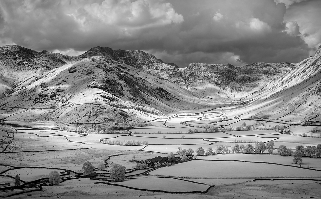 Infra red image of the Langdale Valley, Lake District, United Kingdom